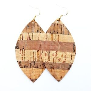 NWT Striped Cork Earrings
